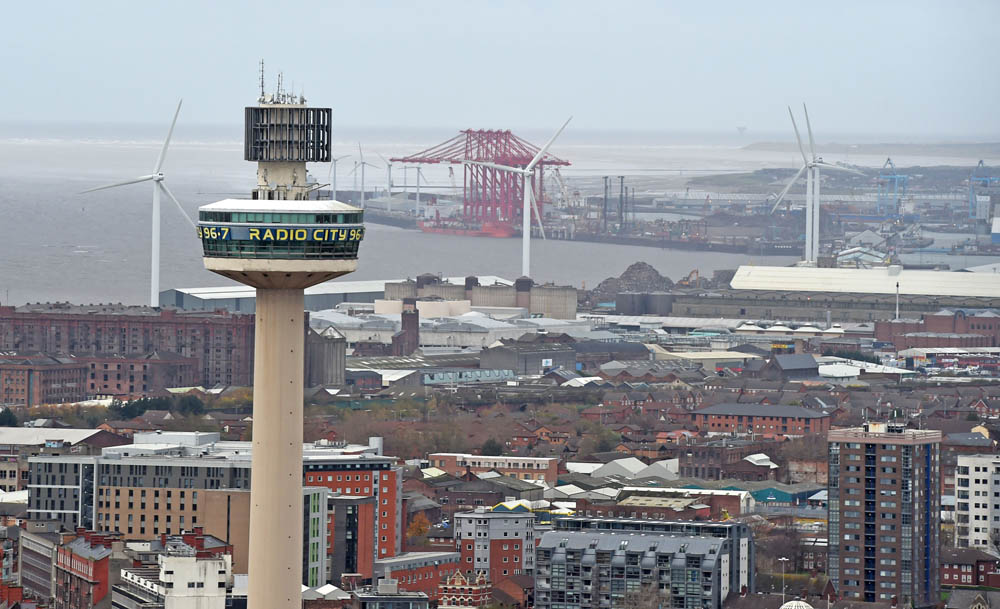 Radio City Tower with the Stanley Dock and Seaforth Docks in the distance, November 2015