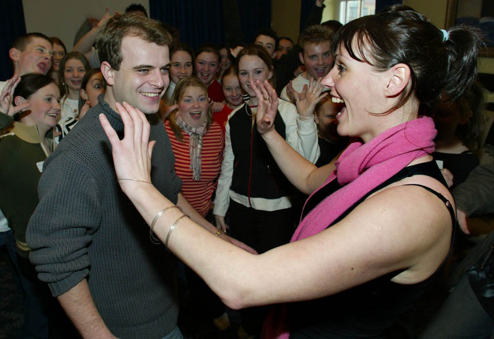 Simon Gregson and Suranne Jones, who played Steve and Karen McDonald, giving an acting class in Manchester, December 2003