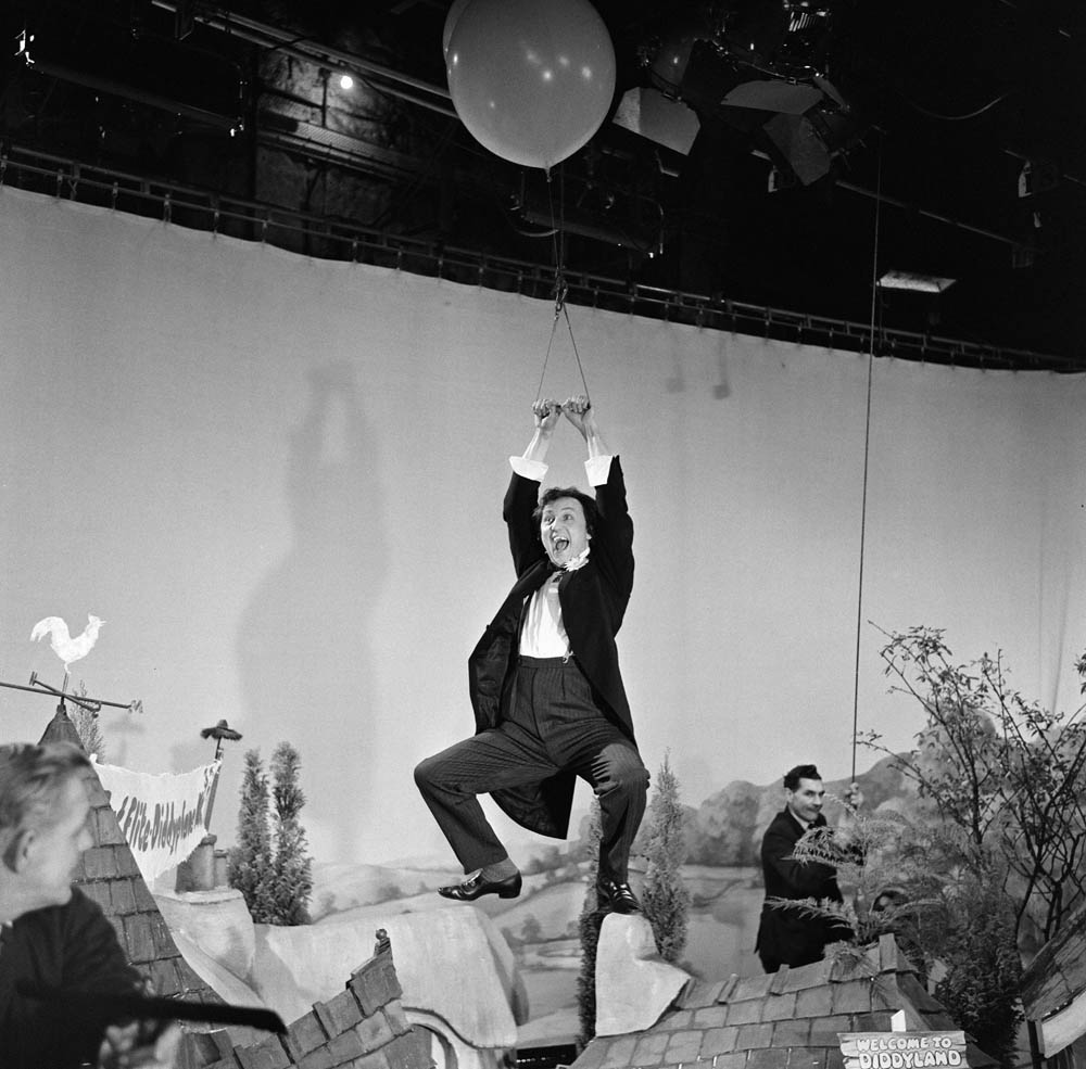 Ken Dodd swings into action above the Diddy village, November 1968