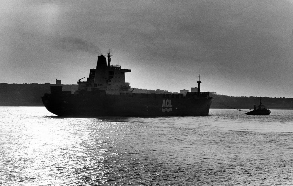 The Atlantic Conveyor leaves Liverpool bound for the Falkland Islands, April 1982