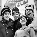 The Scaffold - Roger McGough, Mike McGear and John Gorman - with a female fan, April 1967
