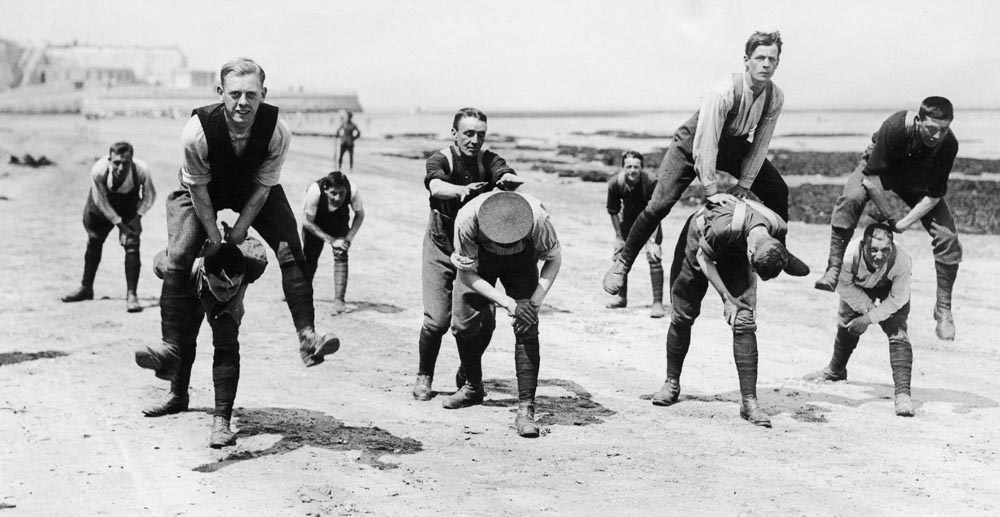 A rare moment of respite – troops play leapfrog on Margate beach, July 1915