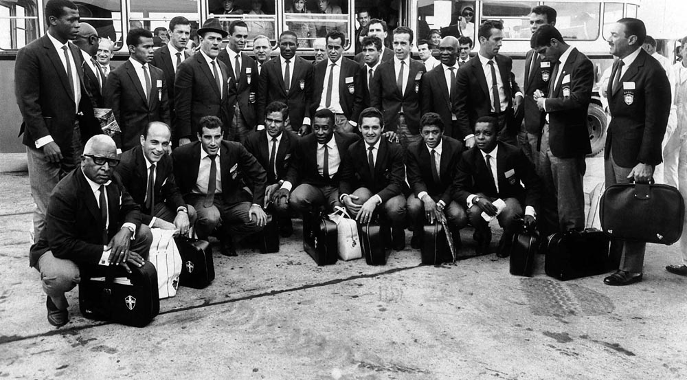 Brazil's World Cup team arrive at Heathrow Airport, June 1966