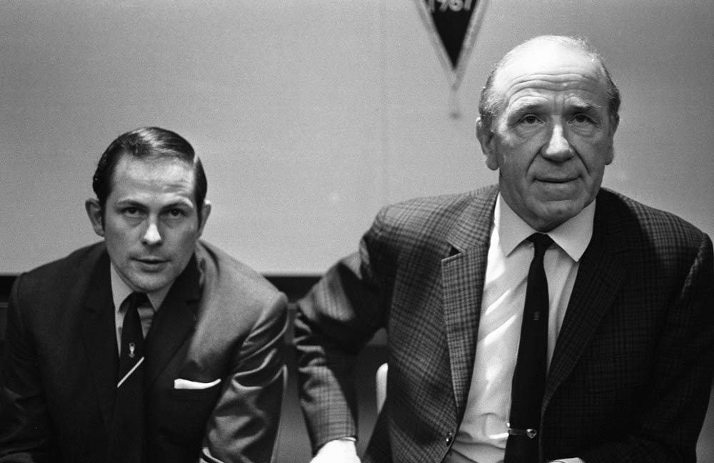 Sir Matt Busby and Wilf McGuinness face the press, April 1969