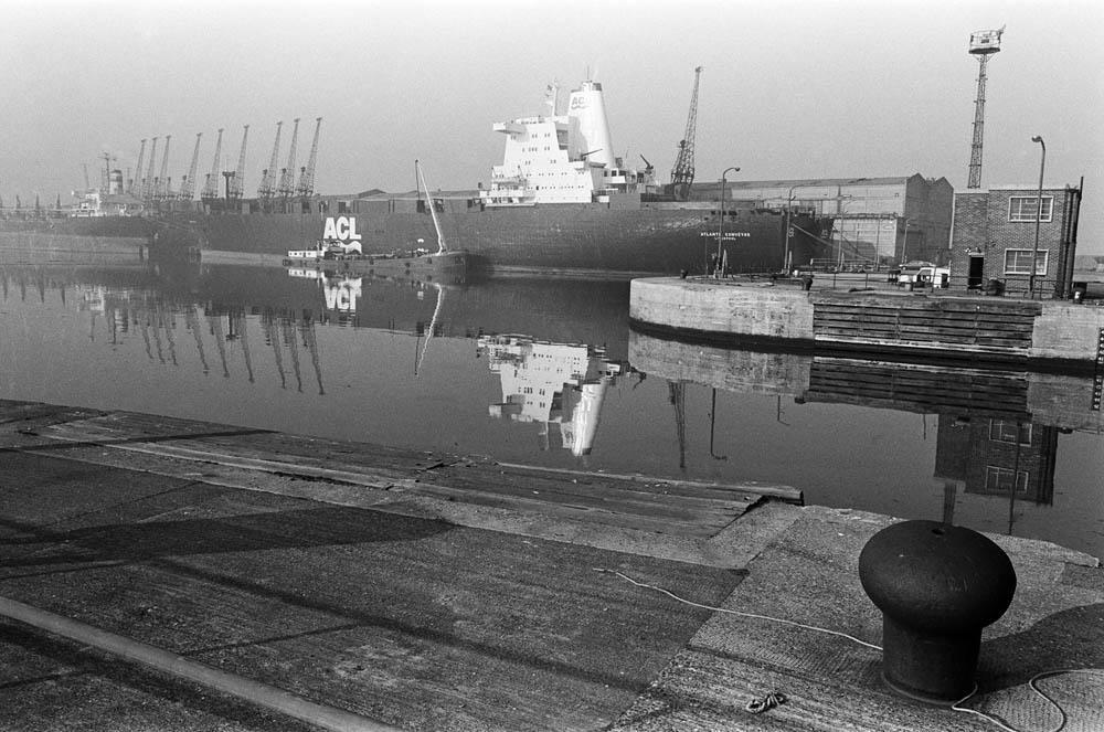 The Atlantic Conveyor moored at Liverpool docks, April 1982