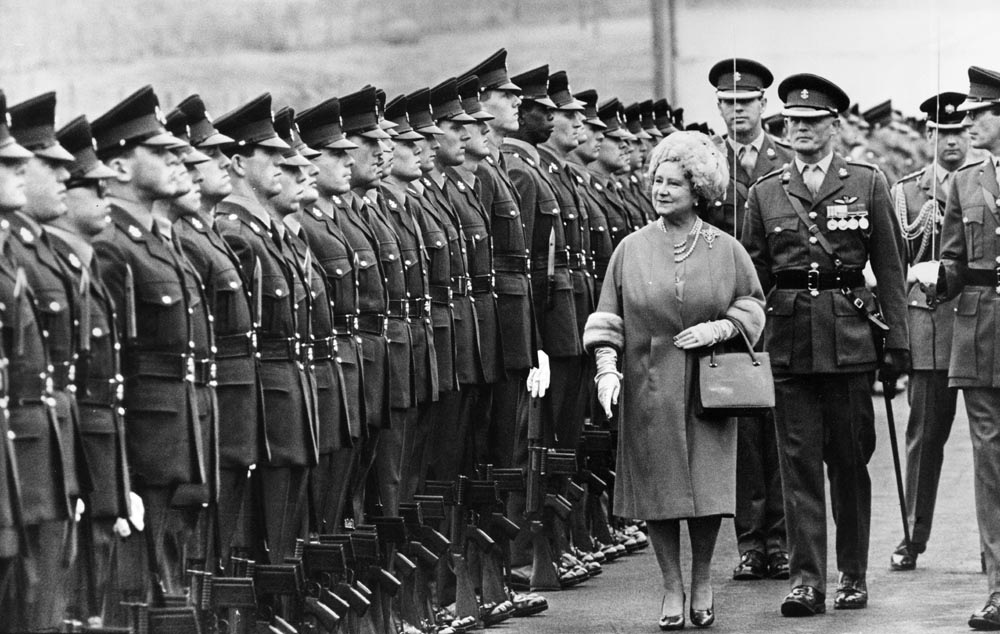 The Queen Mother inspects the King's Regiment, January 1968