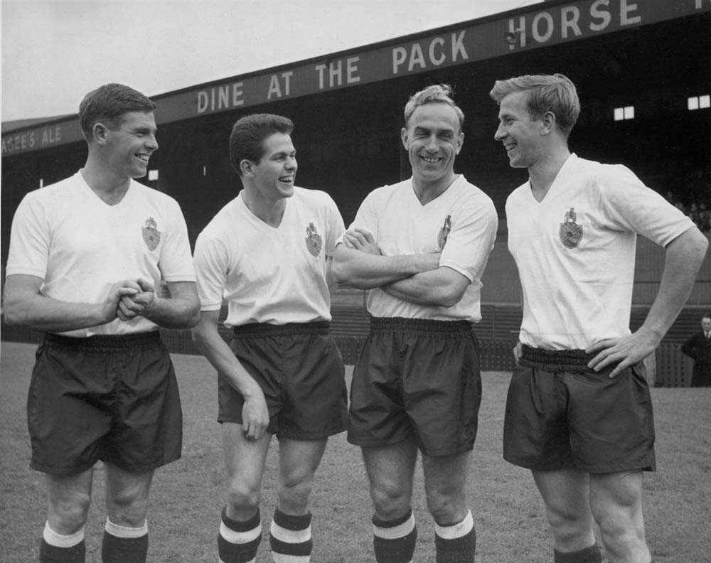 England colleagues Wilf McGuinness, Tommy Banks and Billy Wright before a friendly at Bolton, January 1958