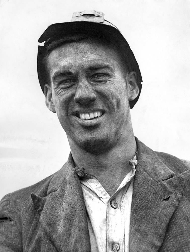 Nat Lofthouse as a miner – one of the Bevan Boys, April 1946