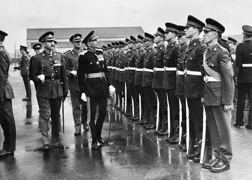 The King's Regiment under inspection before receiving the Freedom of Liverpool, May 1962