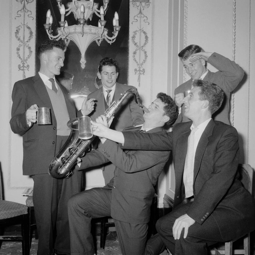Wilf McGuinness, second left, celebrates after beating Birmingham in the FA Cup semi-final, March 1957