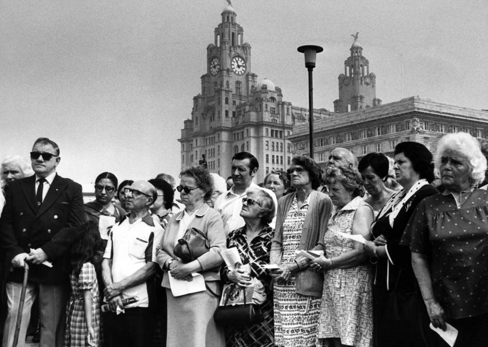 Merseysiders mourn the crew of the Atlantic Conveyor at the Pierhead memorial service, June 1982