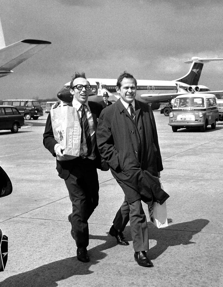 Nobby Stiles and Wilf McGuinness arrive at Manchester airport from Milan, April 1969