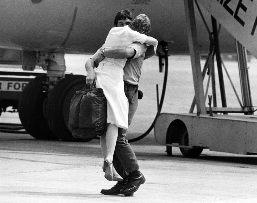A welcome home for one of the survivors of the Atlantic Conveyor, June 1982