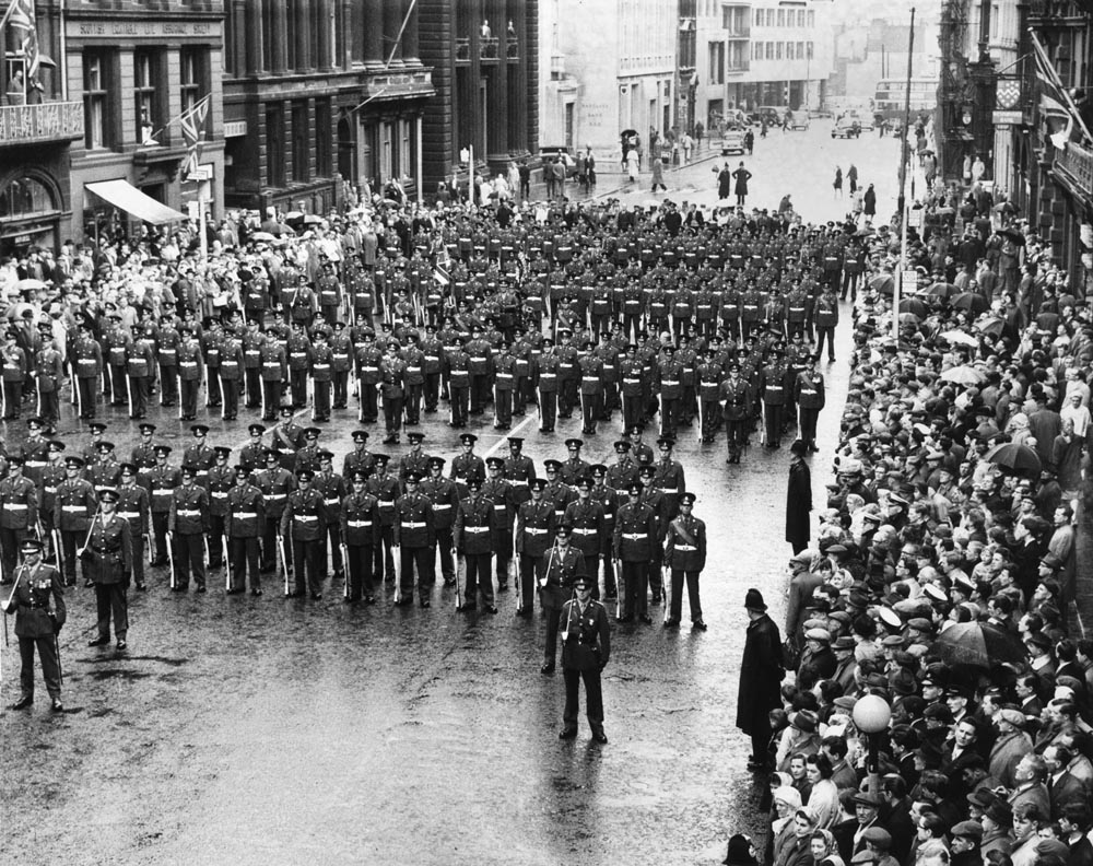 Men from the Kings Regiment marching in Castle Street, Liverpool, May 1962