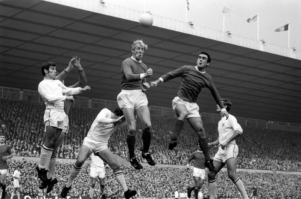 Ian Ure, centre, goes for the high ball in a 1-1 home draw against Nottingham Forest, October 1969