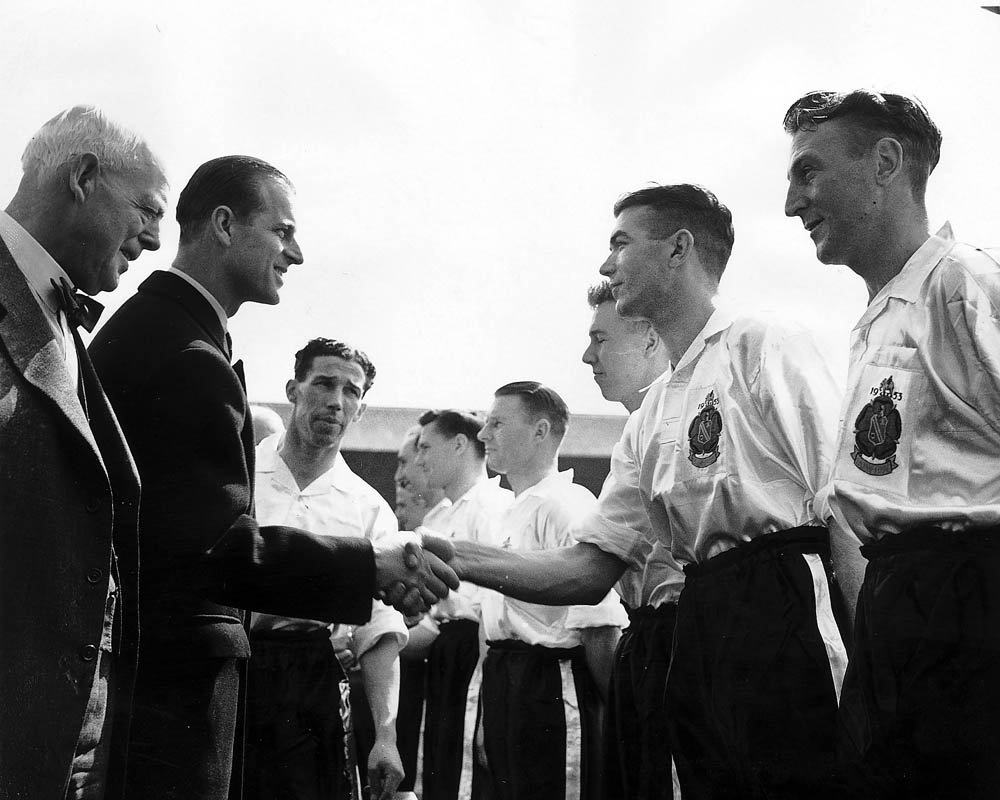 Prince Philip meets the Bolton team before the FA Cup final, May 1953