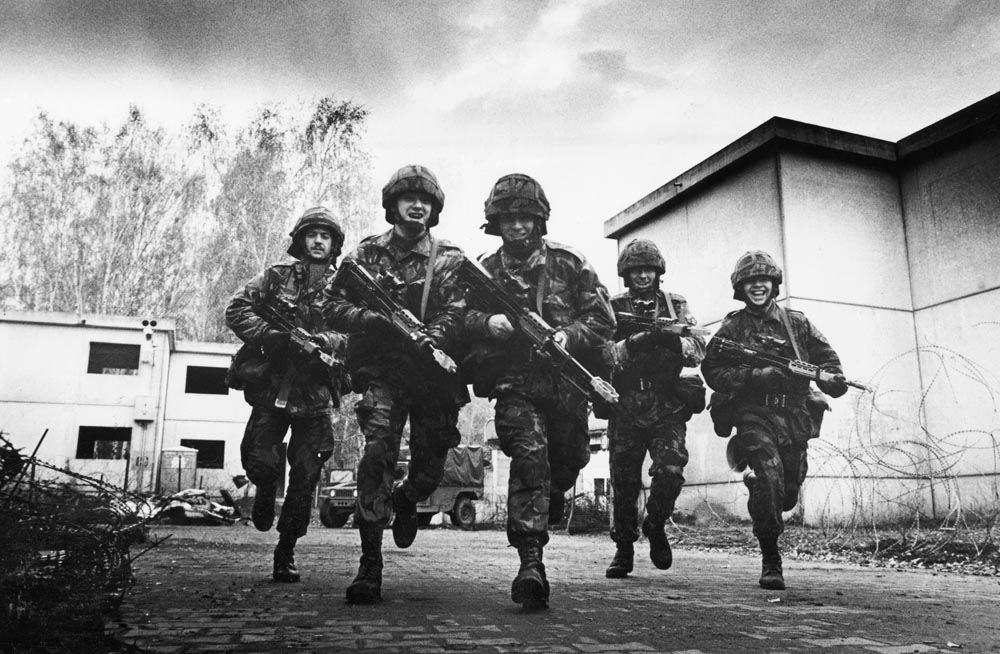 A training exercise for the King's Regiment in West Germany, November 1989