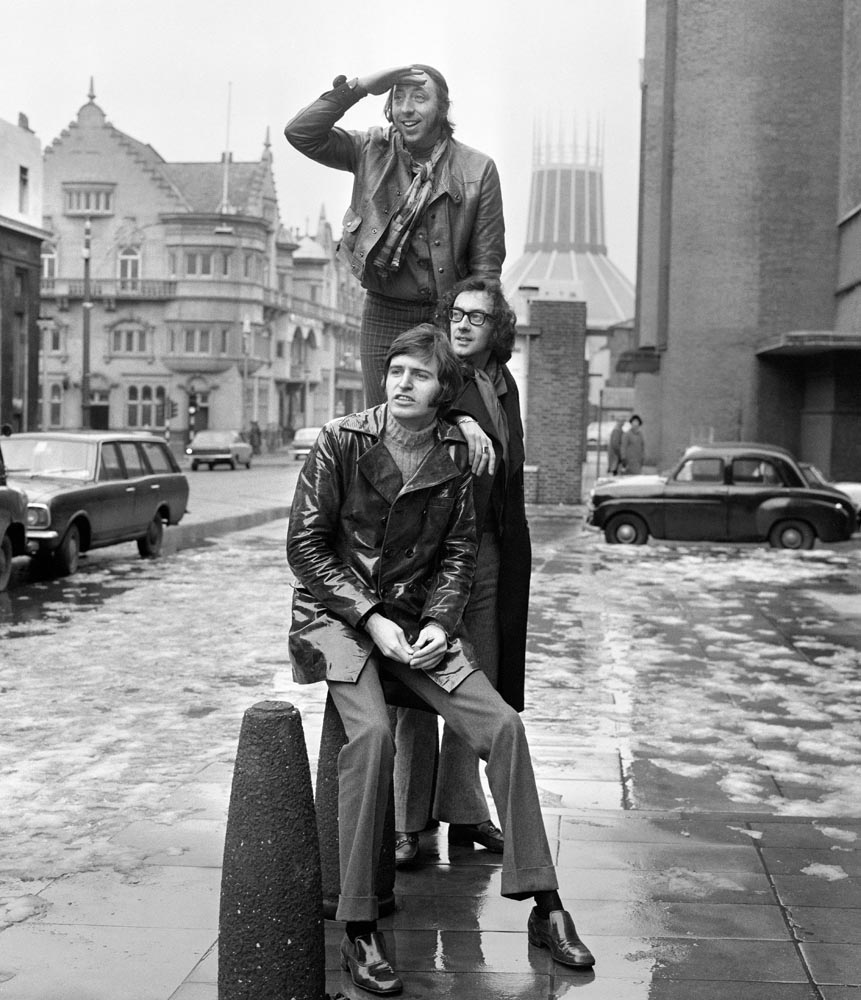 John Gorman, top, Roger McGough and Mike McGear back in Liverpool, March 1969
