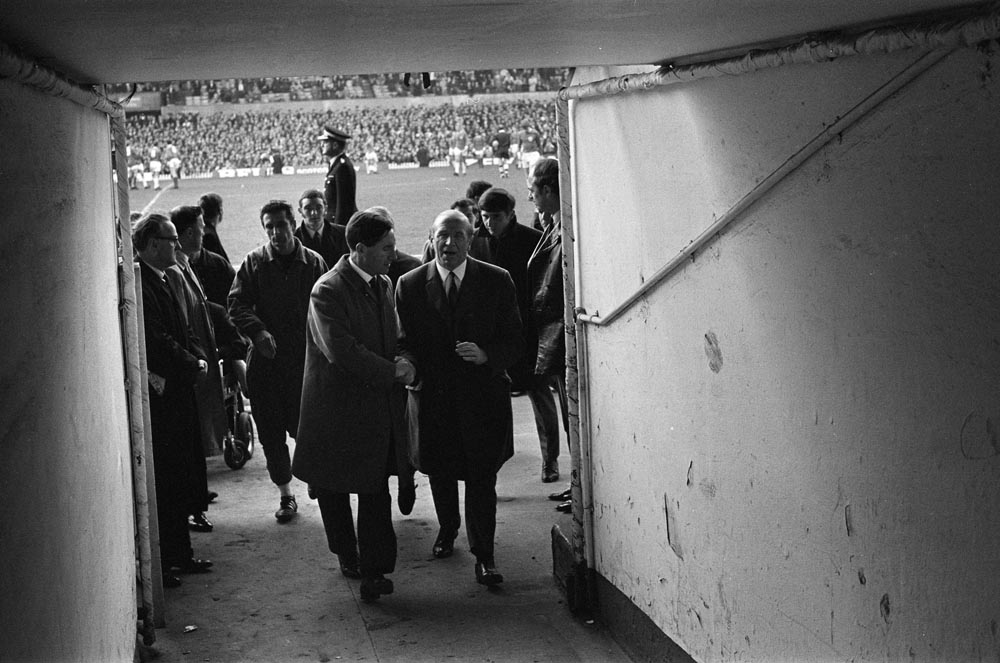 An emotional Sir Matt Busby in the players' tunnel at Old Trafford, May 1969