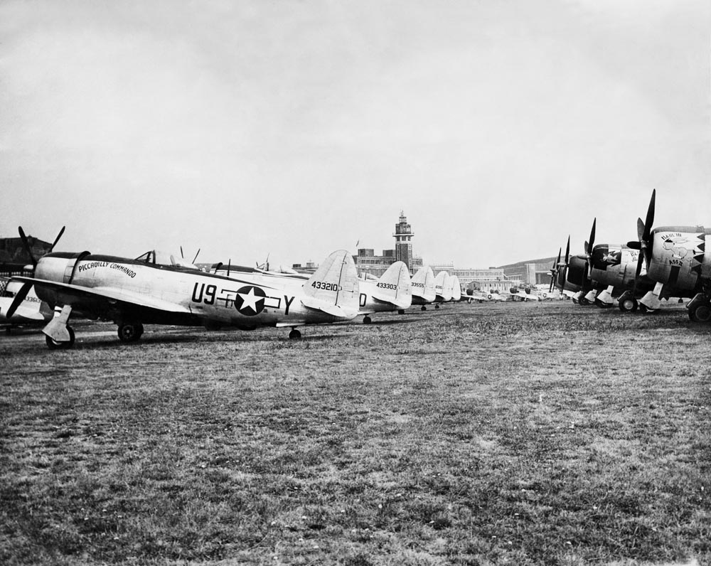 Republic P-47 Thunderbolts awaiting shipment back to the USA after the war, August 1945