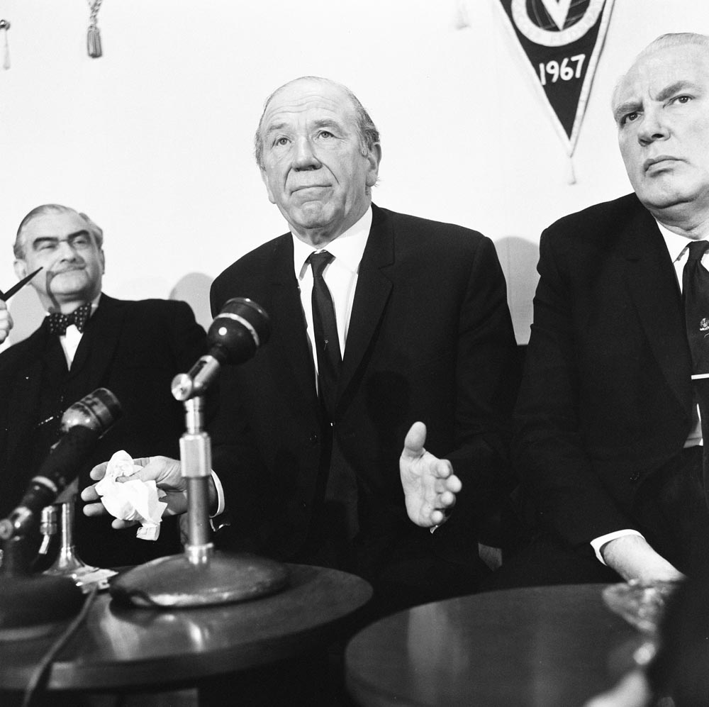 Time to go - Sir Matt Busby announces resignation at an Old Trafford press conference, January 1969