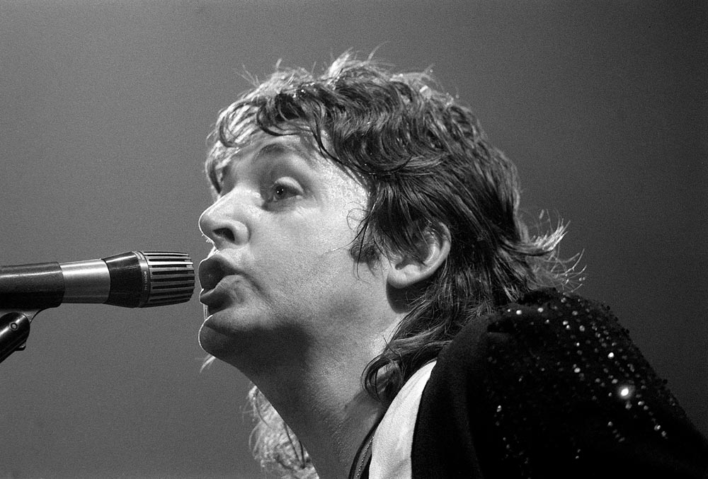 Close-up of Paul McCartney on stage during the Wings' tour of America, May 1976
