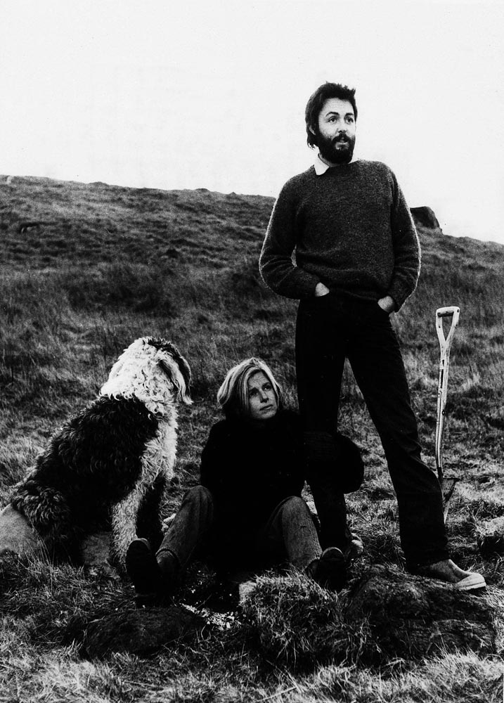 Linda and Paul McCartney at home in Scotland in January 1971. The dog was called Ringo!