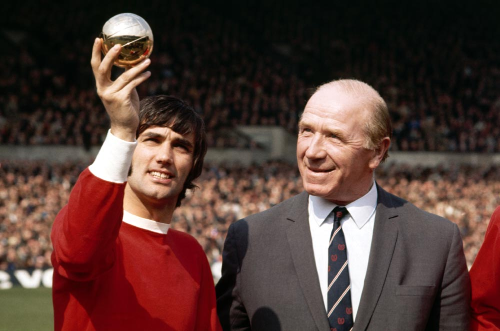 George Best proudly shows Sir Matt Busby his European Footballer of the Year award, July 1969