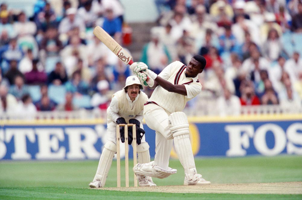 Fast bowler Curtly Ambrose bats against England