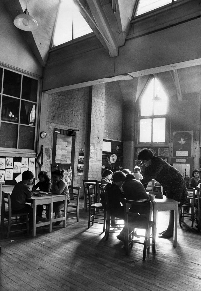 Light streams into a Liverpool primary school, April 1968