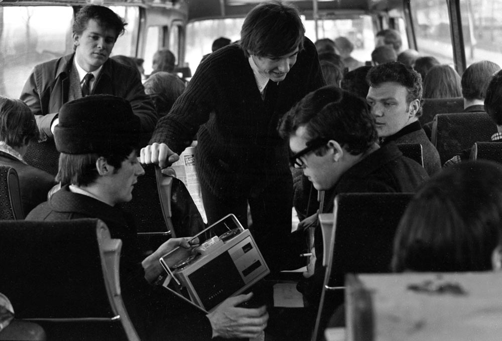 The Fourmost relax on the Merseybeat tour coach, February 1965