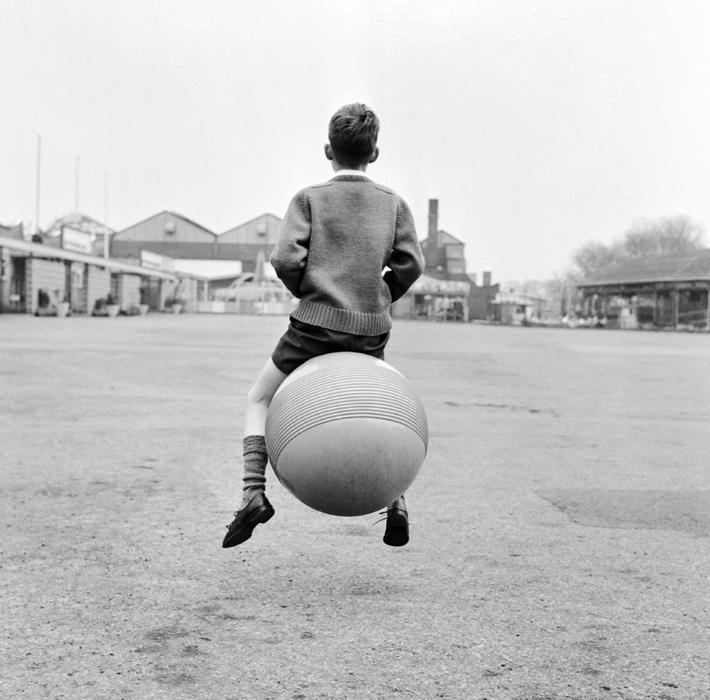 Peter Scott, 9, of West Derby bouncing around on a space hopper, April 1967