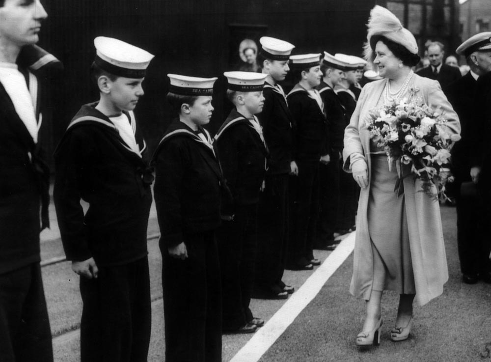 The Queen Mother inspects cadets at the launch of HMS Ark Royal, May 1950