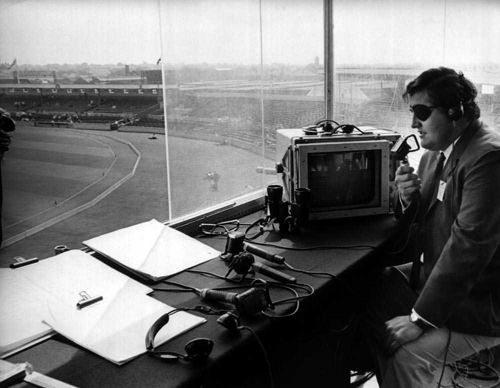 Injured England cricketer Colin Milburn commentates at Old Trafford, June 1969