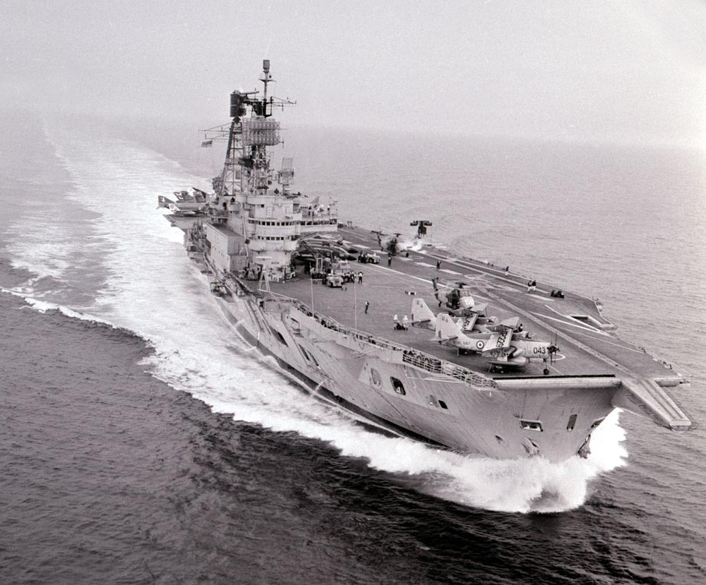HMS Ark Royal in the English Channel after her £32m refit, May 1970