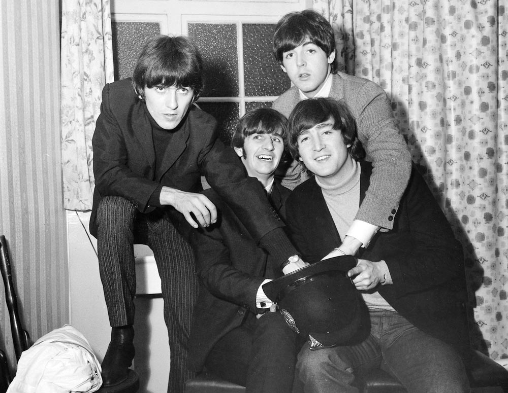 The Beatles, who wrote songs for the Fourmost, backstage at the Liverpool Empire, November 1964