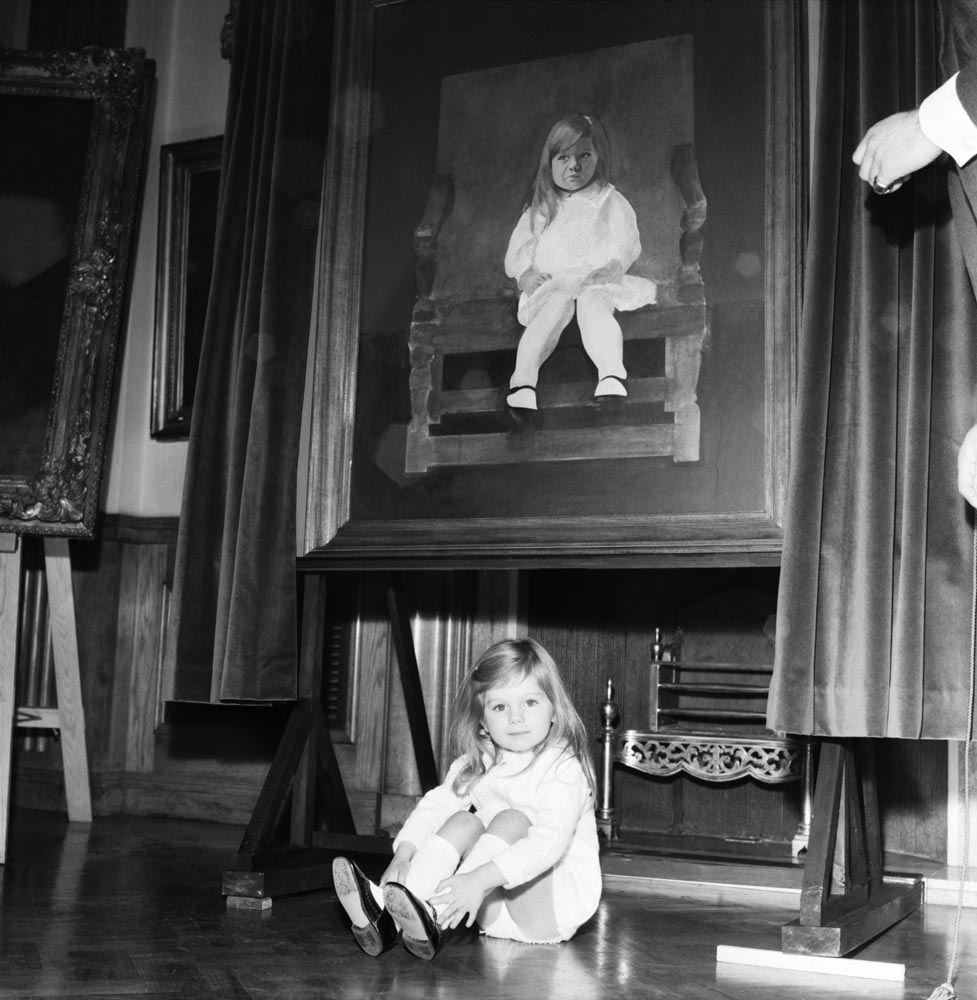 Three-year-old Justine Hornby of Formby is the new face of Pears soap, December 1969