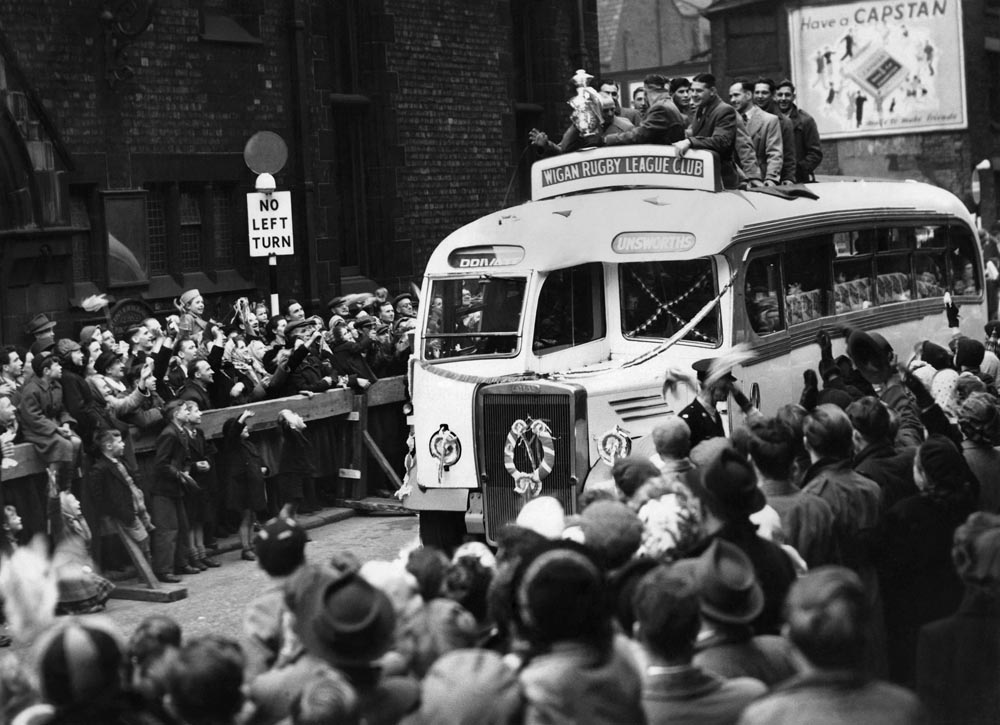 Welcome home! Wigan's heroes parade the Challenge Cup, May 1951