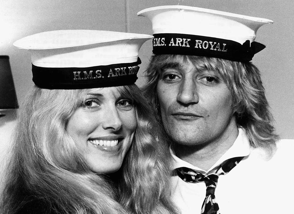 Rod Stewart and Alana Hamilton during their visit to the Ark Royal, December 1978