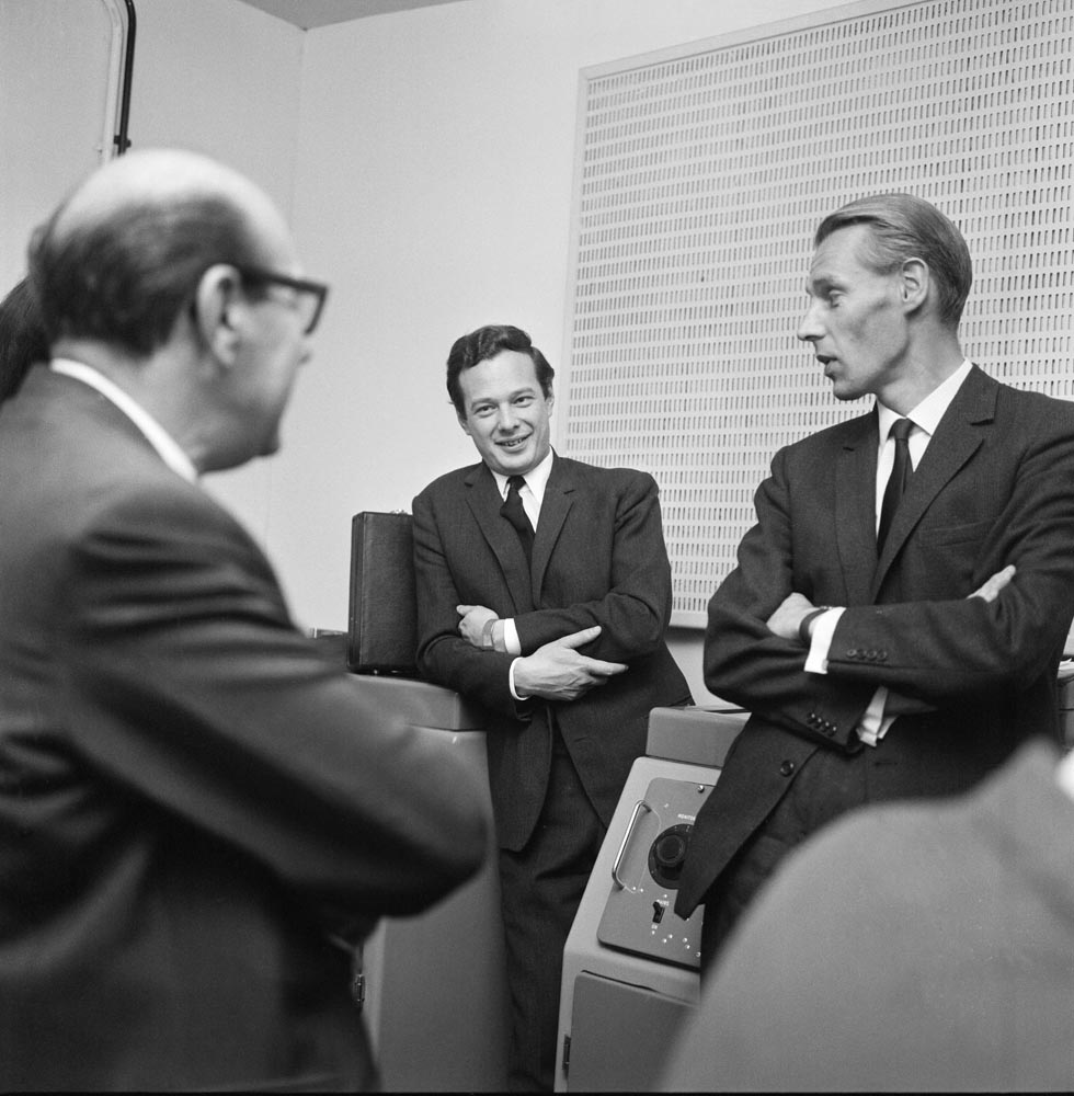 Brian Epstein, centre, and George Martin, left, at Abbey Road studios, October 1964