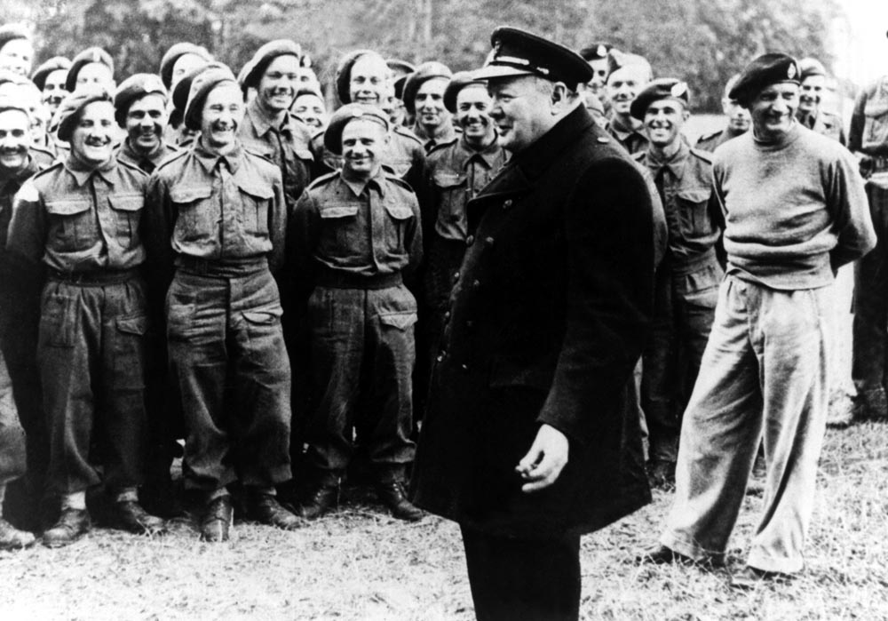 Prime Minister Winston Churchill addresses troops in Normandy, June 1944