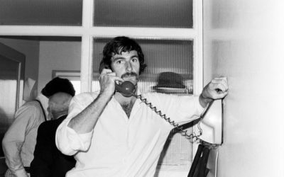 Dennis Lillee phones home during Ashes at Old Trafford