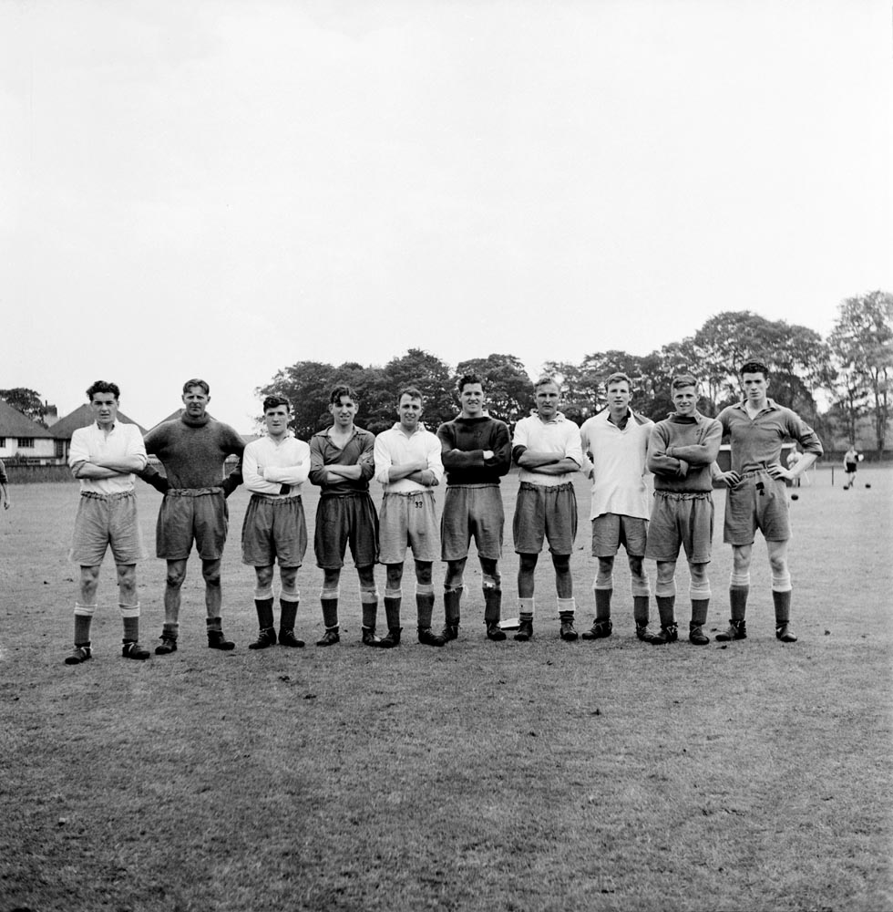 Everton players in pre-season training, August 1952