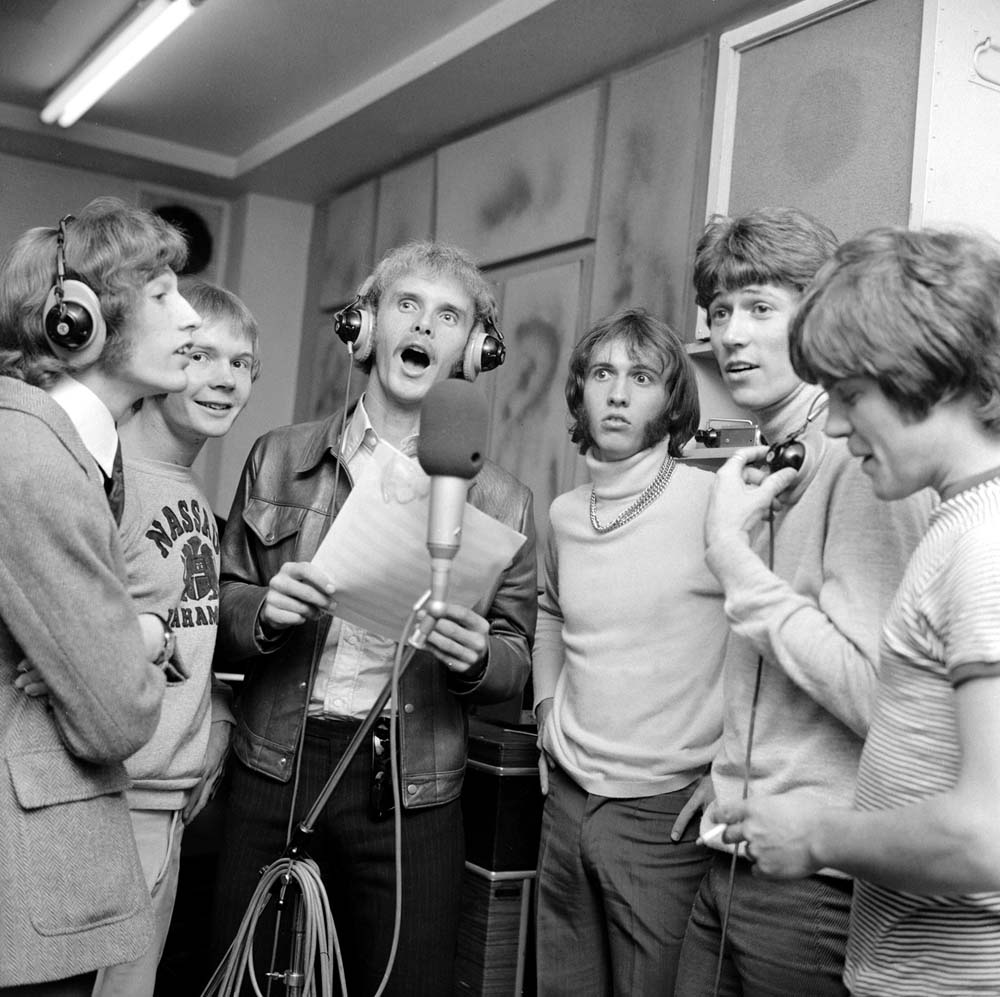 An early photo of Manchester group the Bee Gees, July 1968