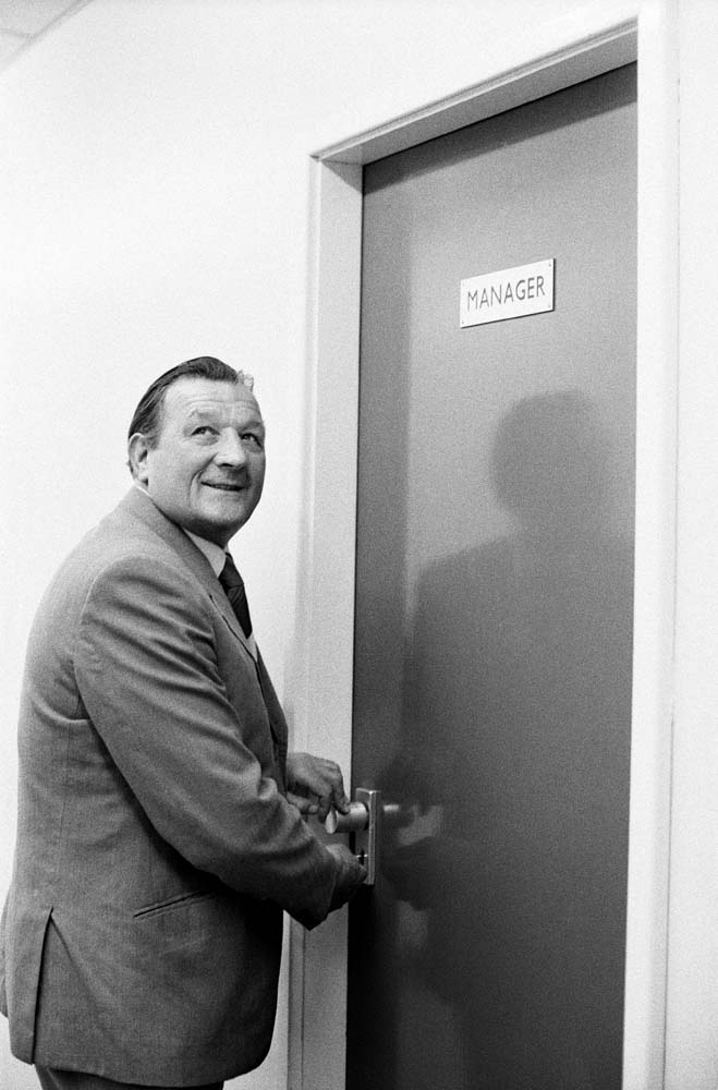 It's yours now. Bob Paisley opens the manager's door, July 1974