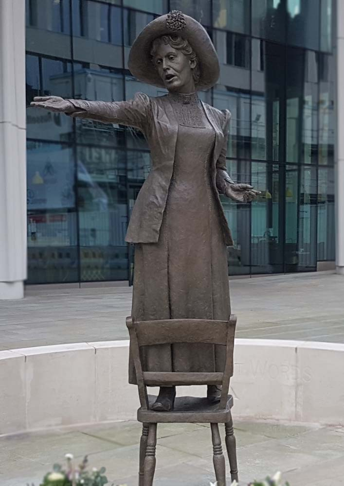 Hazel Reeves' statue of Our Emmeline in St Peter's Square, Manchester