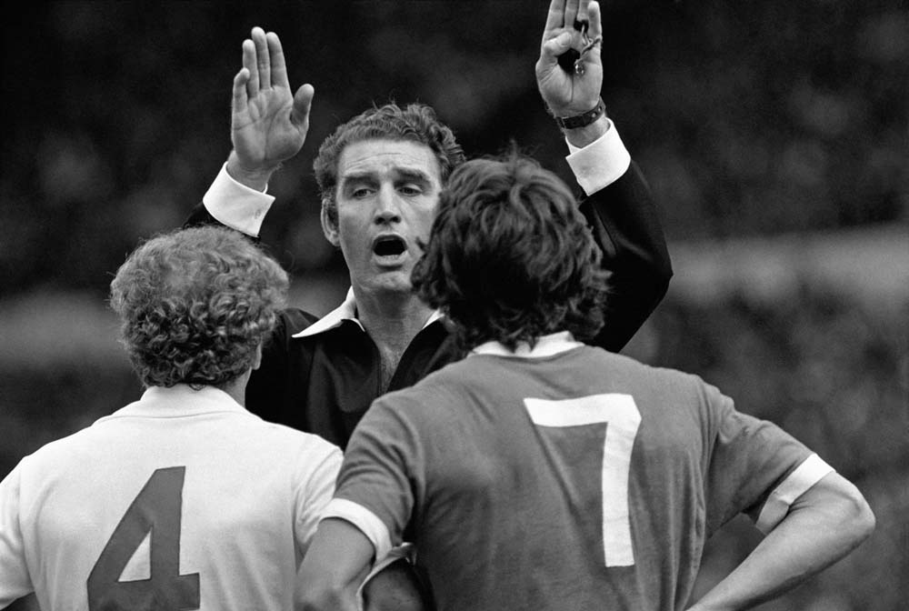 Billy Bremner and Kevin Keegan are sent off in the Charity Shield match at Wembley, August 1974