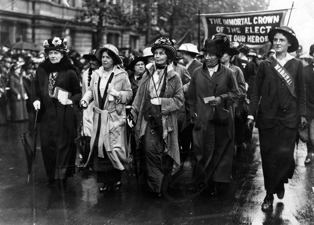Suffragettes on the march with Emmeline Pankhurst at their centre, July 1915