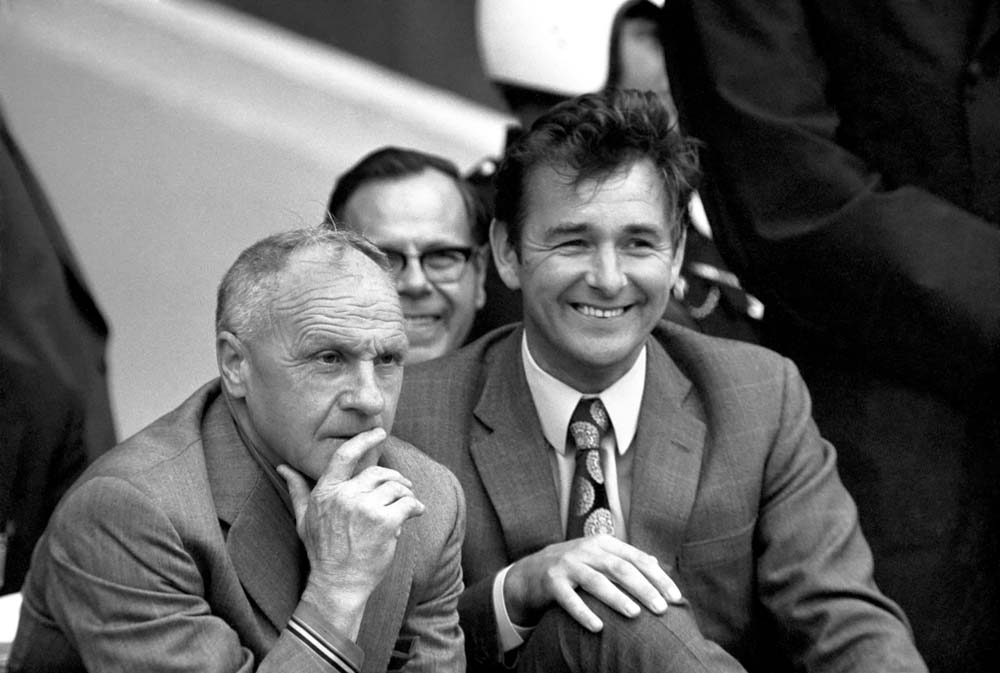 New Leeds manager Brian Clough and Bill Shankly share a joke at Wembley, August 1974