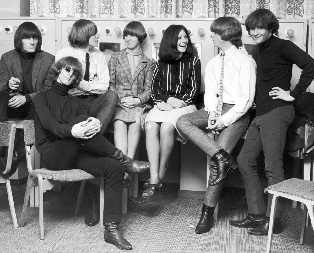 David Crosby, far right, and the Byrds being interviewed in the UK, August 1965